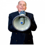 A photo of a man with a megaphone. He is telling us something.