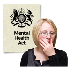 A photo of a woman who is stroking her chin. She looks deep in thought. There is a picture of a document behind her. The document says Mental Health Act.